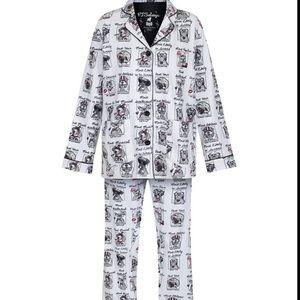 PJ Salvage Yearbook Dogs 2 Piece Pajamas Set L NWT